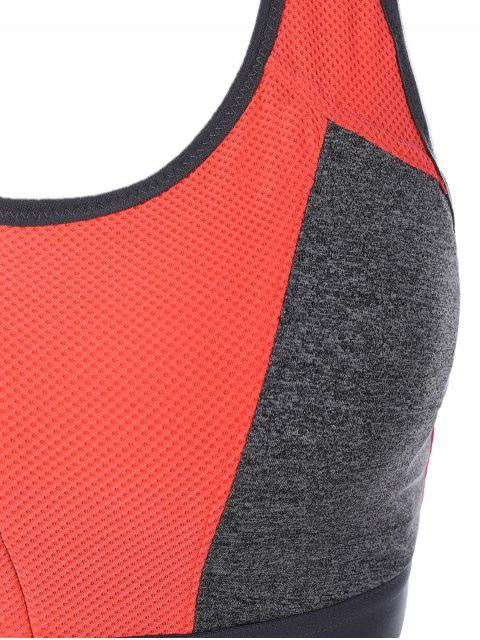 sale Zip Up Color Block Sports Bra -   Mobile