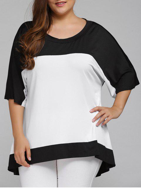 women Plus Size High Low Color Block Blouse - WHITE 4XL Mobile