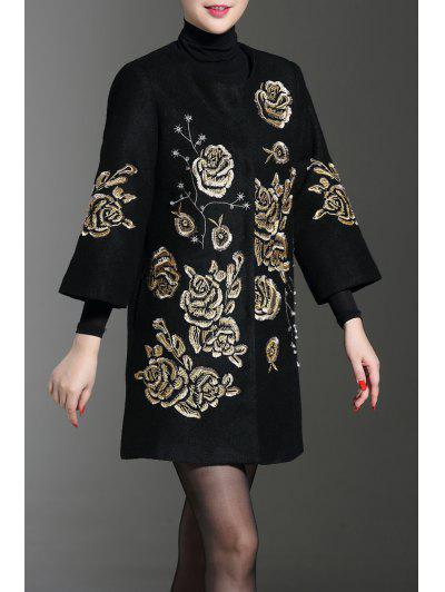 Floral Embroidery Wool Blend Coat