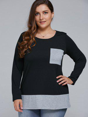 One Pocket Plus Size Pullover - Black And Grey 4xl