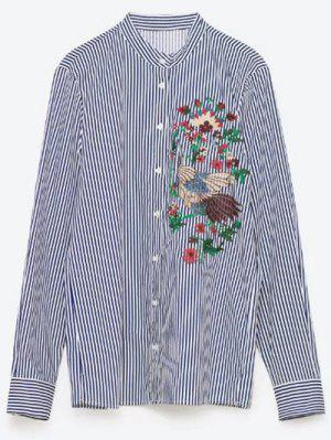 Flower Embroidered Striped Shirt - Stripe M