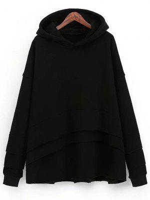 Layered Fleece Hoodie - Black