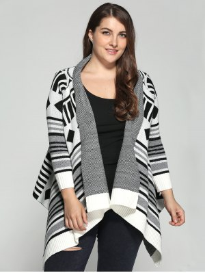 Asymmetric Geometric Pattern Plus Size Cardigan - Xl