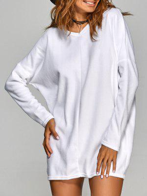Loose Long V Neck Sweater - White L