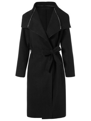 Shawl Belted Wool Blend Wrap Coat - Black L
