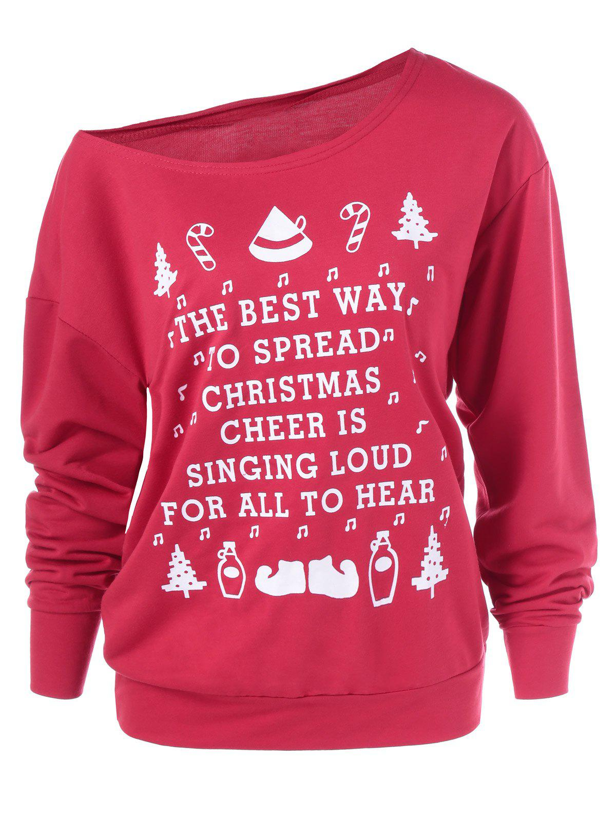 Image of Christmas Graphic Pullover Skew Neck Sweatshirt