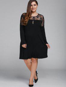 Plus Size Long Sleeves Lace Patchwork Dress - Black Xl