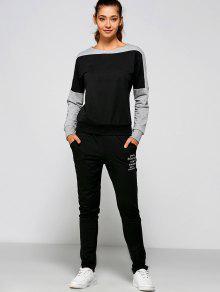 Letter Print Sweatshirt And Pants - Black Xl