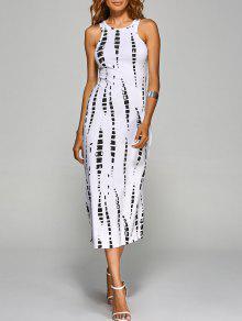 فستان جوهرة الرقبة مصبوغ التعادل - أبيض S
