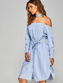 c6d6ef371825 20% OFF  2019 Striped Off The Shoulder Shirt Dress In STRIPE