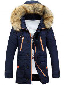 Buy Faux Fur Hooded Zip Multi-Pocket Padded Coat - BLUE L