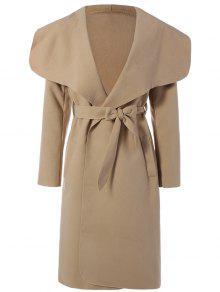 Shawl Lapel Belted Wrap Coat - Khaki L