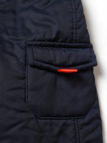 Cappotto imbottito multitasche con cerniera e cappuccio in pelliccia sintetica