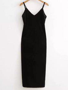 Vestido Lado De Deslizamiento Velour Furcal - Negro