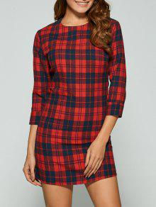 3/4 Sleeve Mini Plaid Casual Dress - Red Xl