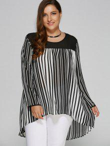 Plus Size Striped Vertical High Low Blouse - White And Black Xl