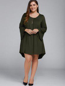 Plus Size Lace Up Flare Sleeves Dress - Olive Green Xl
