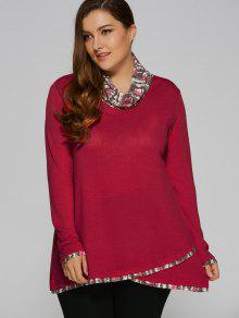 Overlay Cowl Neck Plus Size Blouse - Deep Red Xl