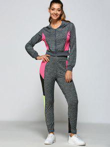 اللون بلوك هوديي والسراويل - رمادي M