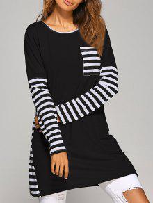 Vestido De Camiseta Con Mangas Largas A Rayas En Contraste - Negro Xl