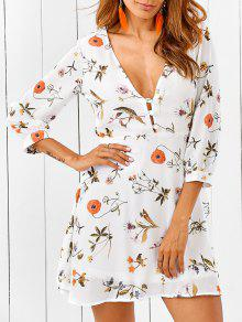 Plunging Neck Cutout Floral Dress - White Xl