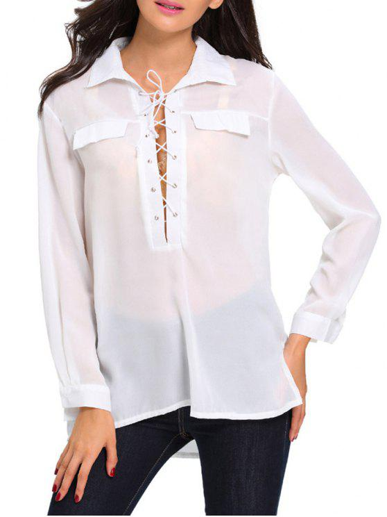 buy Lace Up High Low See Through Shirt - WHITE M