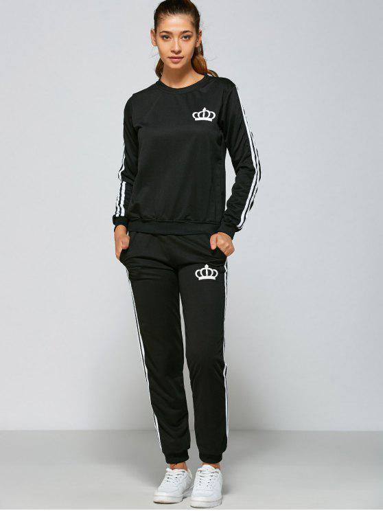 sale Crown and Striped Pattern Gym Outfits - BLACK M