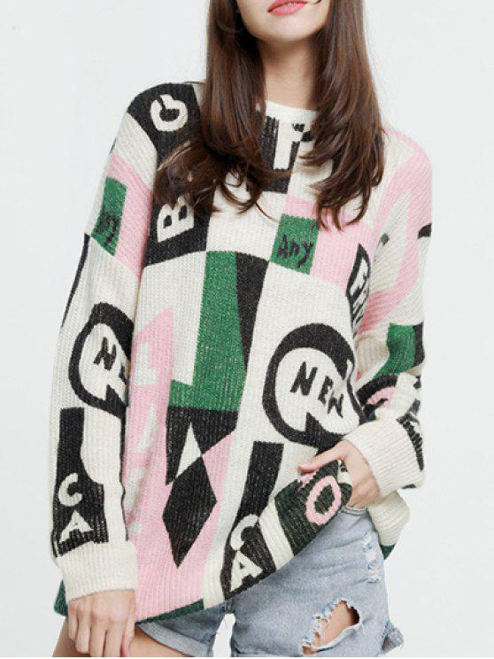 women's Oversized Graphic Mohair Sweater - COLORMIX XS