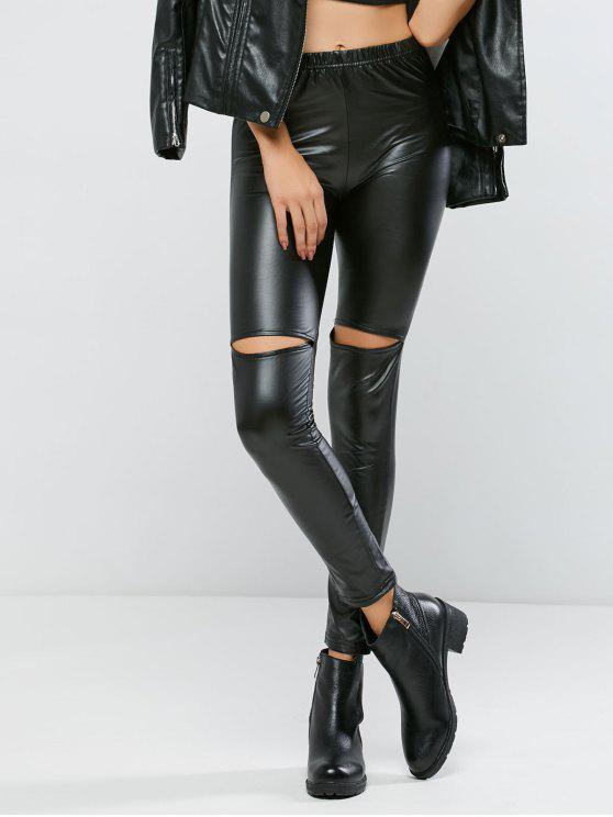 fancy Ripped PU Bodycon Pants - BLACK M