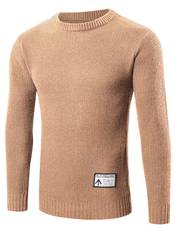 Neck Pullover Sweater Crew patchato - Cachi 2XL