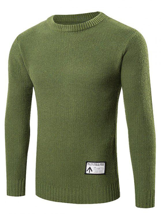 Neck Pullover Sweater Crew patchato - Verde XL