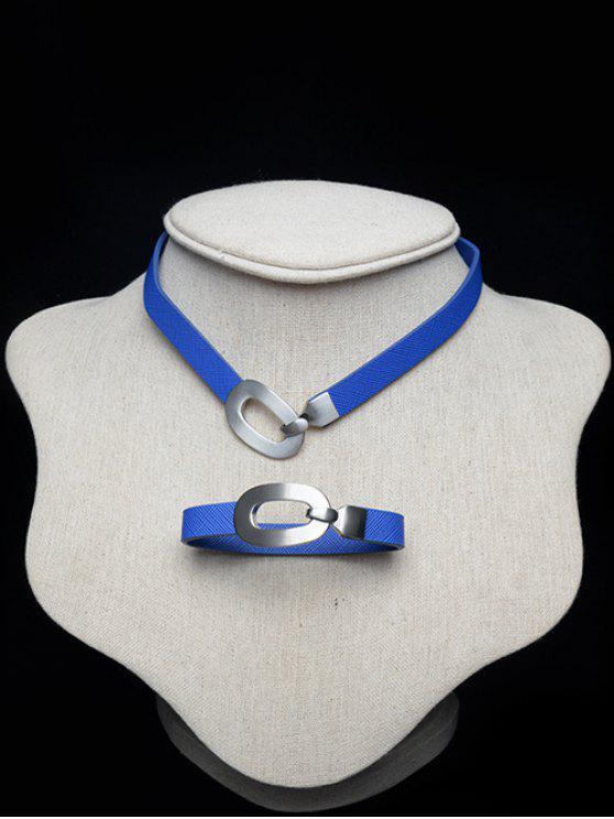 Geométrica de la aleación Gargantilla Conjunto - Azul Marino