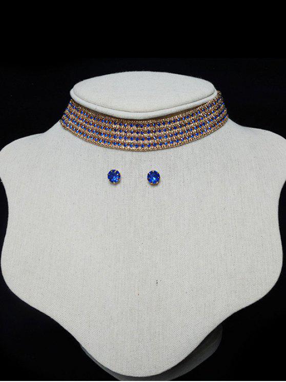 Escalonado Rhinestone Gargantilla Conjunto - Azul Zafiro