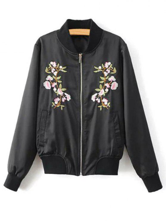 shops Floral Embroidered Pilot Jacket - BLACK S