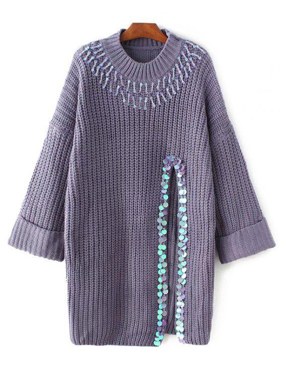 women Sequins High Slit Beaded Sweater Dress - PURPLE ONE SIZE