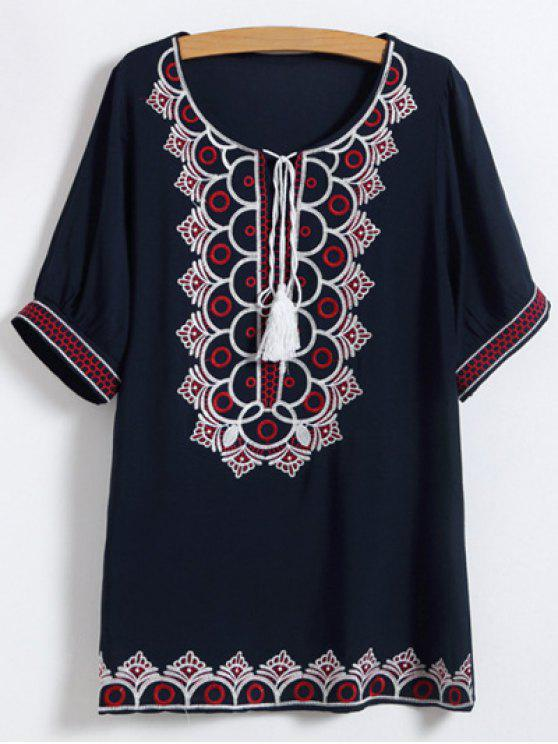 trendy Scoop Neck Embroidered Mini Dress - PURPLISH BLUE ONE SIZE