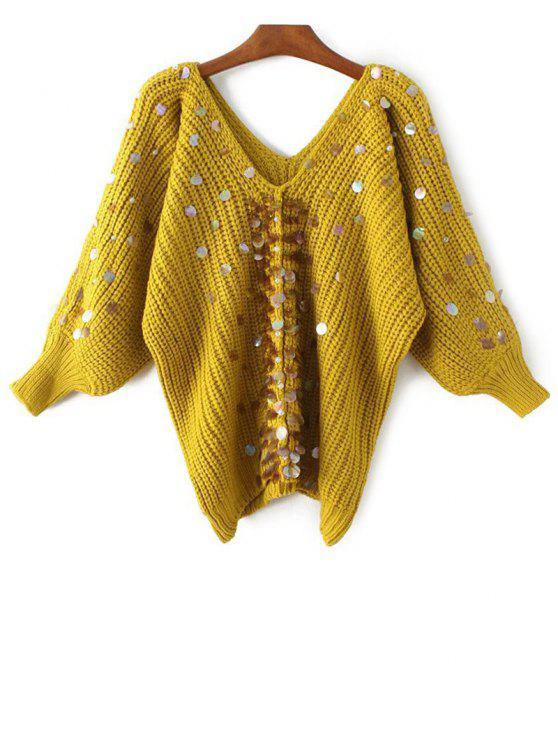 hot Sequins V Neck Faux Pearl Sweater - YELLOW ONE SIZE