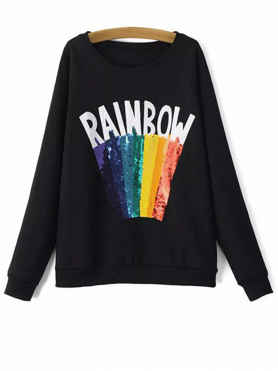 Sweat-shirt paillettes imprimé arc-en-ciel - Noir L