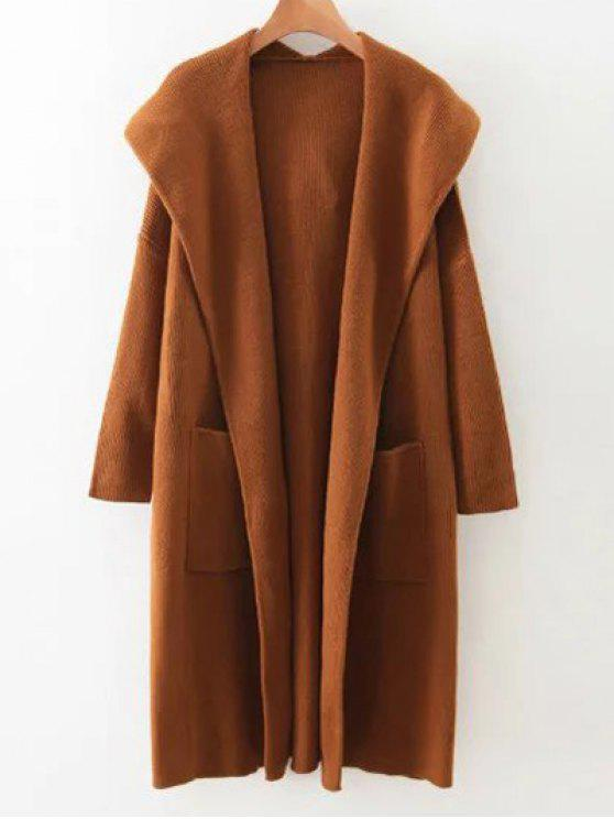affordable Long Hooded Knitted Cardigan - BROWN ONE SIZE