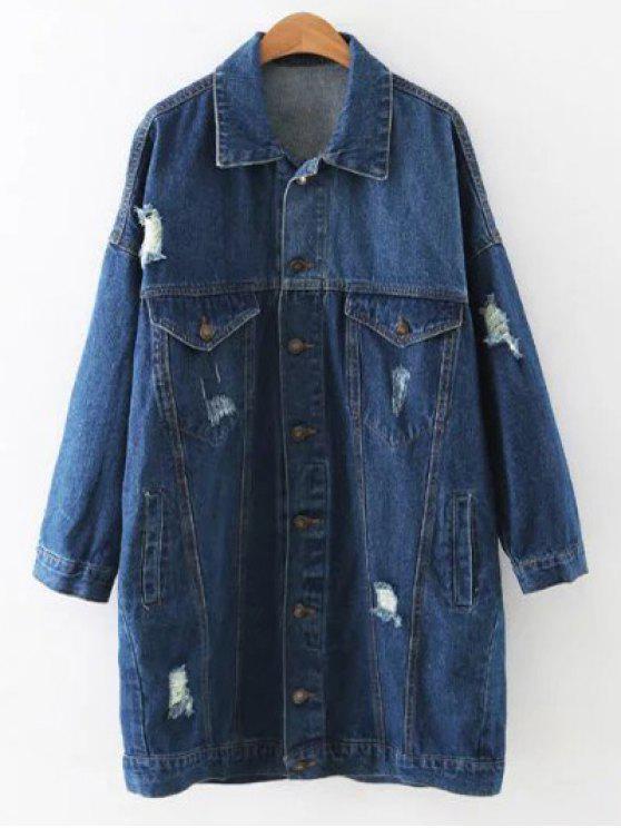 best Ripped Button Up Denim Coat - DENIM BLUE L