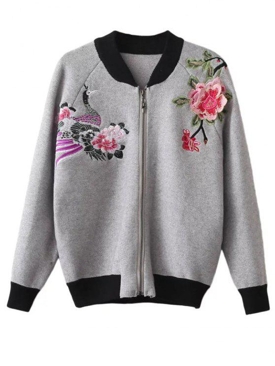 ladies Front Zipper Floral Embroidered Cardigan - GRAY ONE SIZE