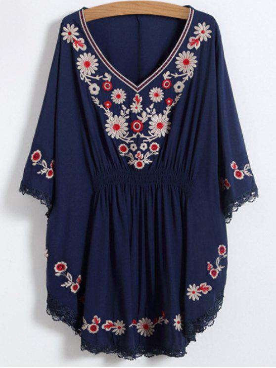 Floral bordada Kaftan Top - Azul Purpúreo Única Talla