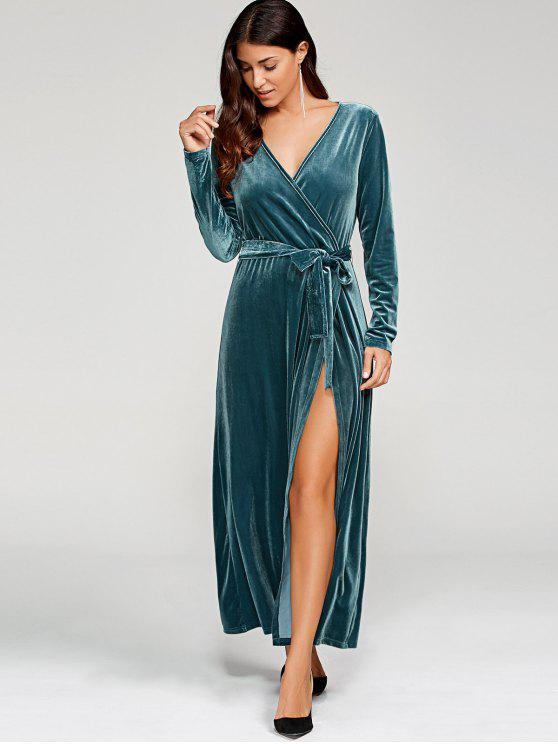 trendy Belted Velvet Robe Long Dress With Sleeves - PEACOCK BLUE S