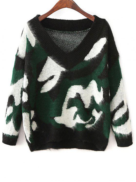 Pull-over camouflage col V - Vert Taille Unique