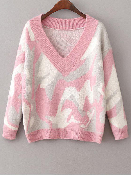 new V Neck Camoflage Jumper - PINK ONE SIZE