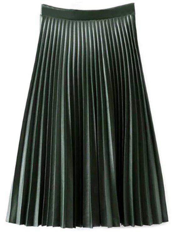 Cuero de la PU del acordeón plisado de la falda - Verde negruzco L