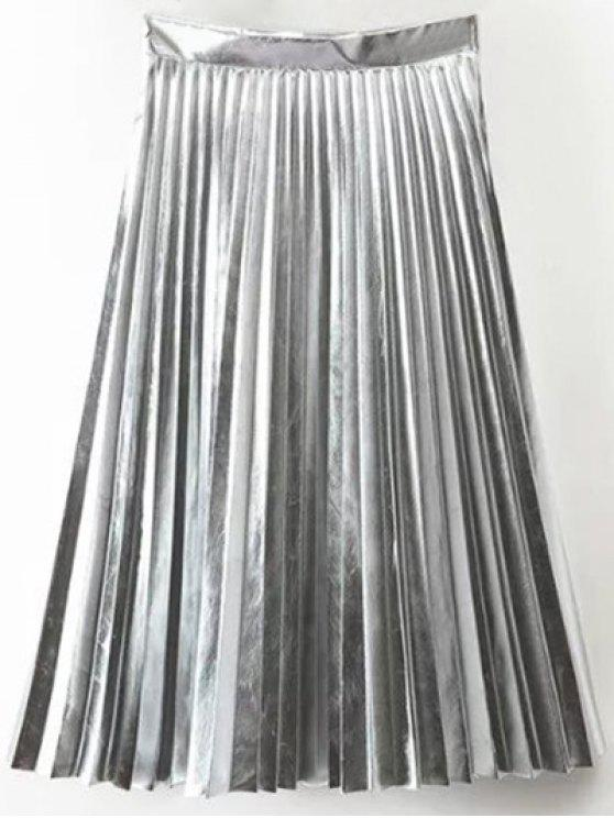 trendy PU Leather Accordion Pleat Skirt - SILVER S