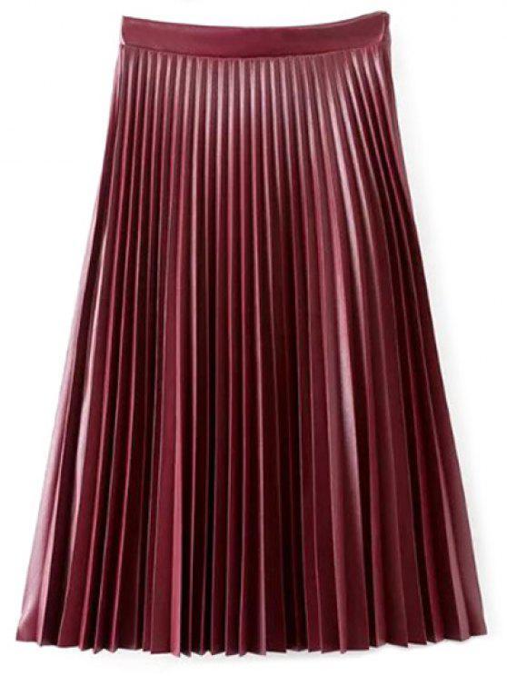 الأكورديون الطية تنورة مطوية PU تنورة جلد - نبيذ أحمر L