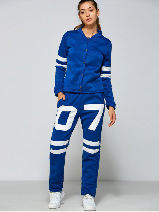 Simple Veste boutonnage avec Nombre Motif Pantalons - Bleu et Blanc M