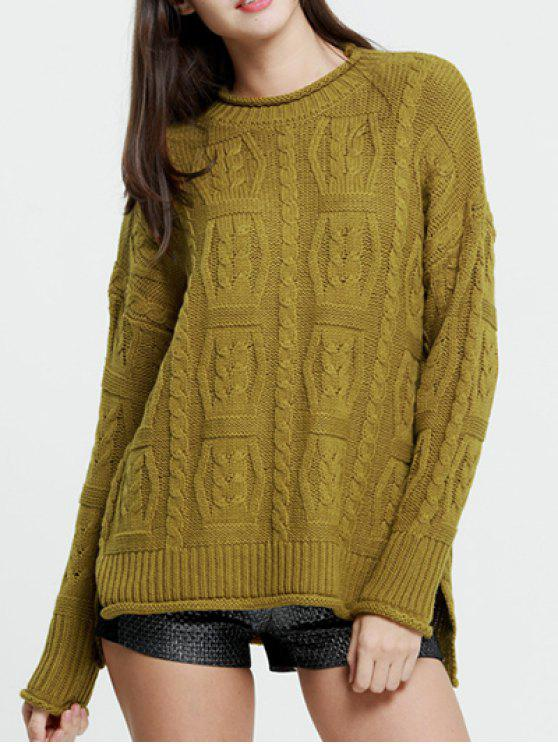 168fe445c17ccb 32% OFF] 2019 Cable Knit Oversized Jumper In OLIVE YELLOW | ZAFUL
